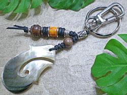 海からの贈り物★黒蝶貝キーホルダー フィッシュフック