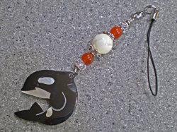 海からの贈り物★シェルストラップ/シャチ【マザーオブパール/カーネリアン/水晶】