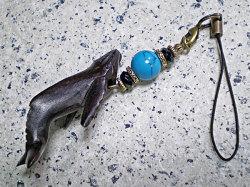 海モチーフ★ウッド(木彫り)ストラップ ザトウクジラ