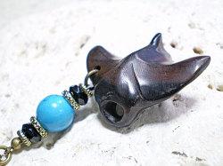 海モチーフ★ウッド(木彫り)ストラップ マンタ