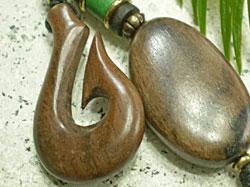 海モチーフ★ウッド(木彫り)キーホルダー フィッシュフック